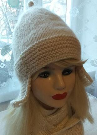 Шапка вязаная женская мужская унисекс шапка-ушанка с флисом мягкая теплая
