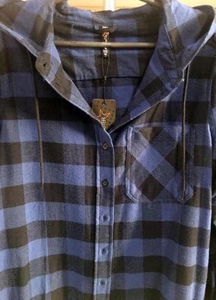 Фланелевая рубашка в клетку с капюшоном