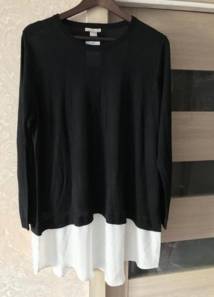 Джемпер с рубашкой (обманка),большой размер