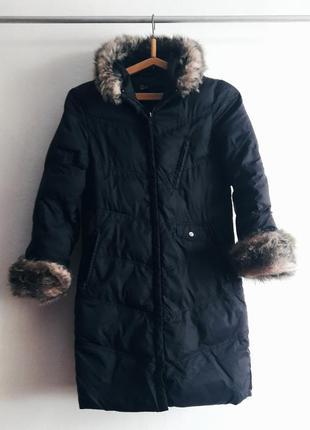 Пальто подростковое длинное курточка пуховик плащ мех fluid