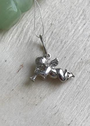 Подвес серебряный кулон амурчик ангел белый
