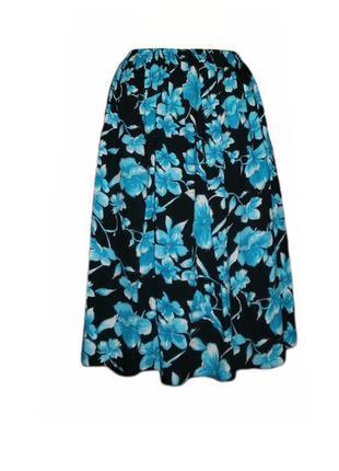 Расклешенная юбка миди цветочный принт на резинке вискоза размер s/m