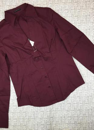 Скидки! италия! стильная рубашка с вырезом, цвет марсала, приталенная