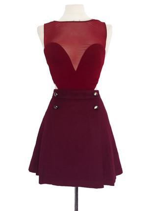 Теплая шерстяная юбка марсала (м,l)