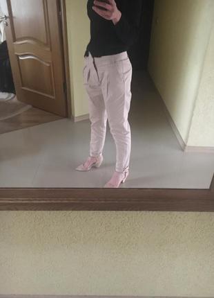 Пудровые брюки коттон от zara