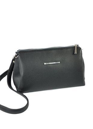 Черная маленькая сумка через плечо вместительная кроссбоди на молнии