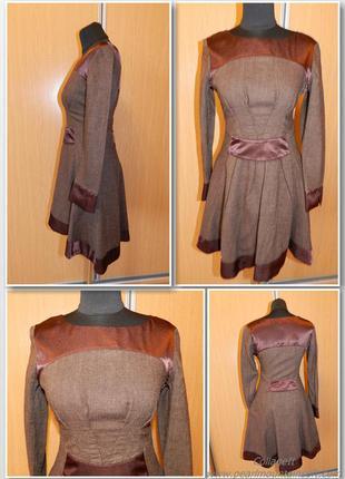 Ассиметричное платье-клеш, декорированное атласом  bgl fashion group / платье