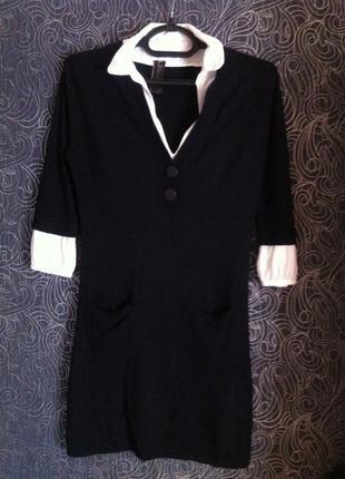 Теплое вязанное стильное платье, можно в офис, в составе шерсть и кашемир