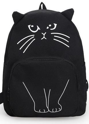 Рюкзак черный в виде кота, рюкзак-кот с ушками и хвостом