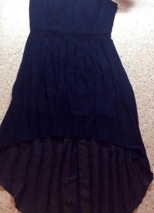 Темно синее вечернее платье