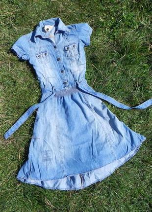 Object collectors item asos 40-42 стильное необычное джинсовое платье солнце с карманами