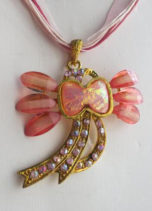 Подвеска ожерелье с кулоном розово-золотая