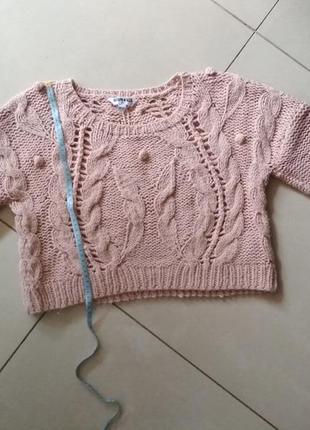 Укороченный вязаный свитер   new look