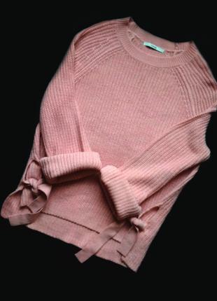 Свитер вязаный с завязками по бокам свитер оверсайз кофта с шнуровкой