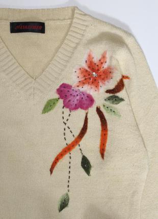 Обнова! свитер джемпер шерсть апликация