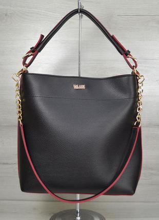 Черная сумка шоппер через плечо с красными торцами