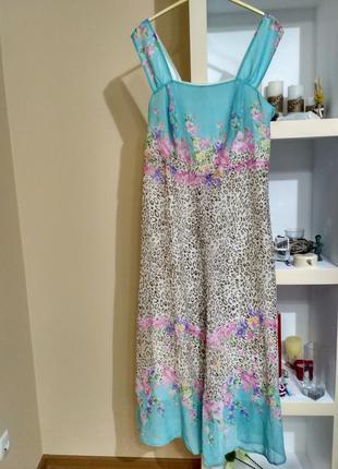 Платье длинное с цветочным принтом