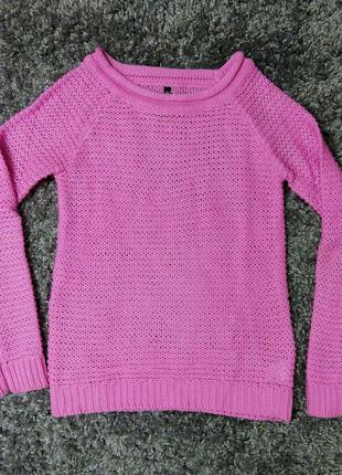 Кофта вязанная розовая свитер