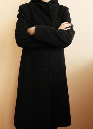 Длинное черное шерстяное пальто весна\осень