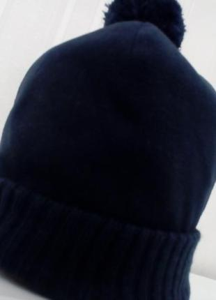 Флисовая двойная шапочка с помпоном, kiabi woman, новая, цвет синий, р 54_55