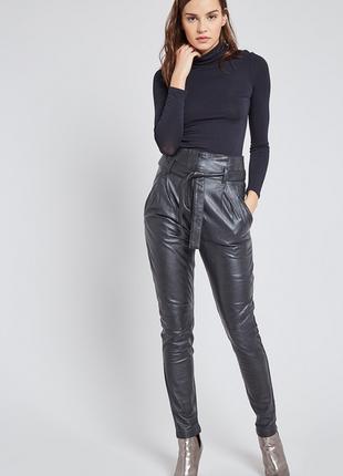 100% кожа, мягусенькая/стретч. шикарные брюки belair, франция. высокая талия, галифе