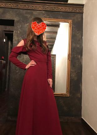 Длинное бордовое платье 😍 очень красивое и нарядное🙌🏻 качество - люкс👌🏻