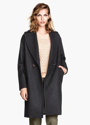 Темно серое полушерстяное пальто, oversize, boyfriend, h&m , xl