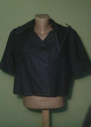 Джинсовое коттоновое болеро пиджак укороченный