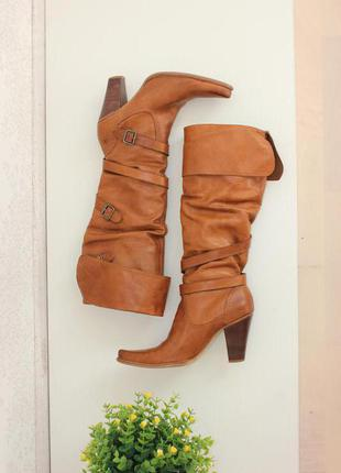 Кожаные сапоги ботфорты, высокие сапоги на каблуке,натуральная кожа, бренд bronx