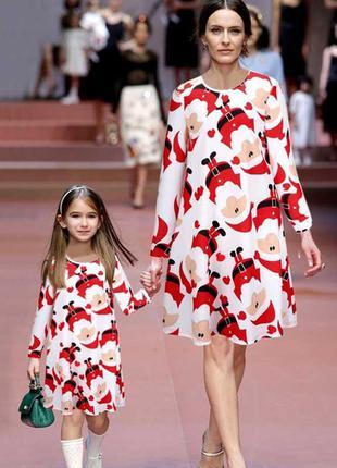 Платье новогоднее/мама-дочка