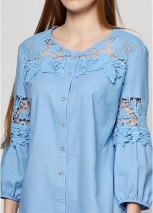 Платье-рубашка. туника. шикарное кружево.