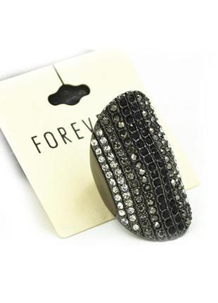 Широкое черное кольцо в камнях, сток брендовой бижутерии