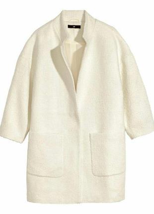 Белое, пальто букле кокон оверсайз, бойфренд,boyfriend,oversize,l, xl в стиле atmosphere
