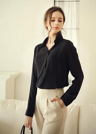Блуза рубашка женская черная шифоновая