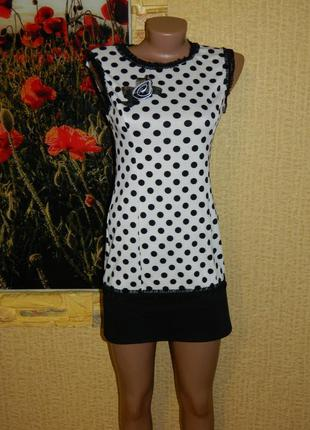 Платье новое в горошек французский трикотаж, кружево р. 42-44