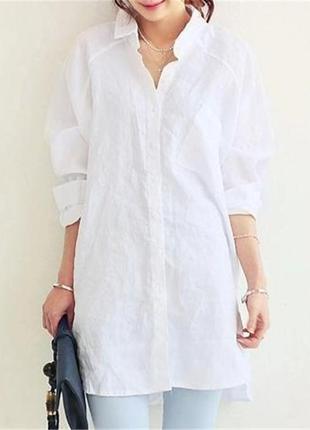 0a7690390f0 Белая льняная длинная удлиненная рубашка. смотрите мои объявления ...