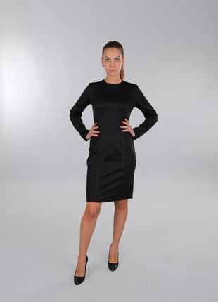 Платье черное с отстрочкой