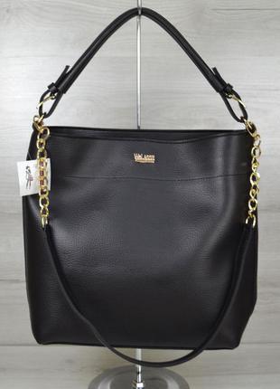 Черная сумка шоппер через плечо деловая матовая молодежная