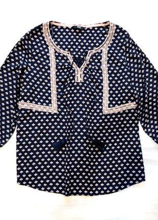 Блуза f&f из вискозы, свободная, с кисточками и вышивкой, этно, бохо стиль