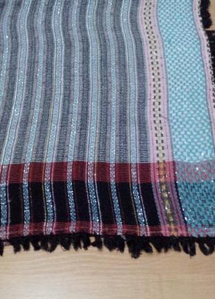Красивый платок с бахромой, люрекс, 102х98