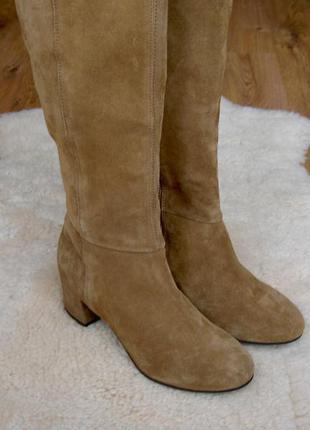 Роскошные замшевые сапоги на среднем каблуке next