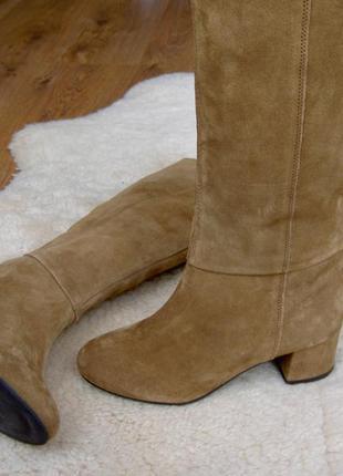 Роскошные замшевые сапоги на среднем каблуке next5