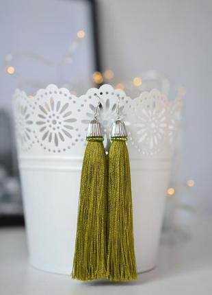 Сережки кисточки hand made серьги кисти
