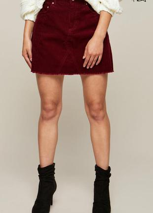Вельветовая юбка-трапеция miss selfridge цвета марсала с необработанным краем🌷