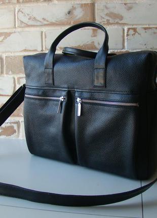 de9079264352 В наличии! стильная мужская кожаная сумка / сумка для ноутбука/ черная сумка