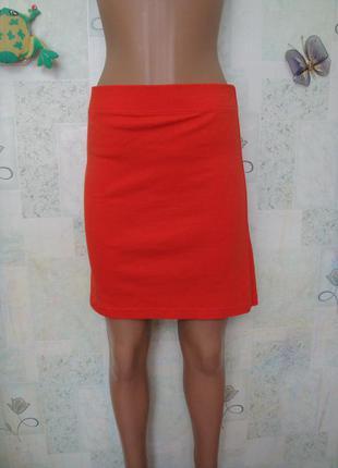 Яркая оранжевая трикотажная юбка мини в обтяжку большой размер 48-50-52 рр