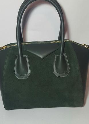 Элегантная, деловая женская сумка в стиле givenchy. кожа комбинированная с замшем.