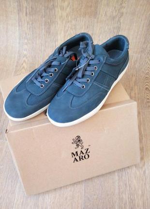 Темные синие мужские кеды-кроссовки из натурального нубука от mazaro