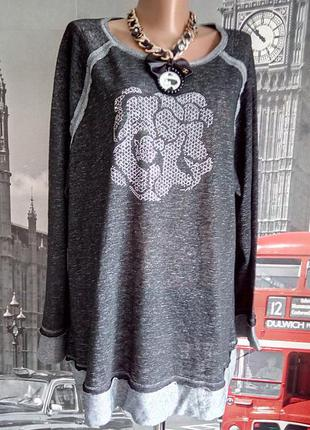 Gina laura, светрик кофта світшот з принтом із камінчиків