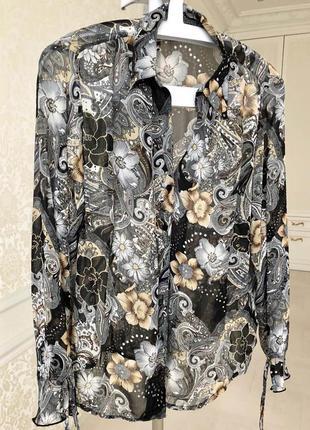 Блуза шифоновая/ черно-золотая/ нарядная/с длинным рукавом/ l-xl